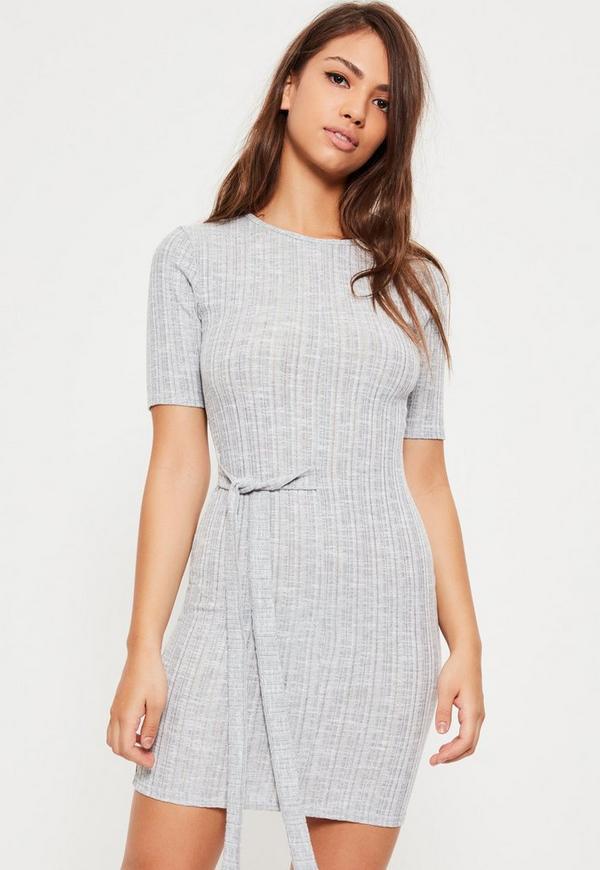 Grey Tie Side Ribbed Bodycon Dress
