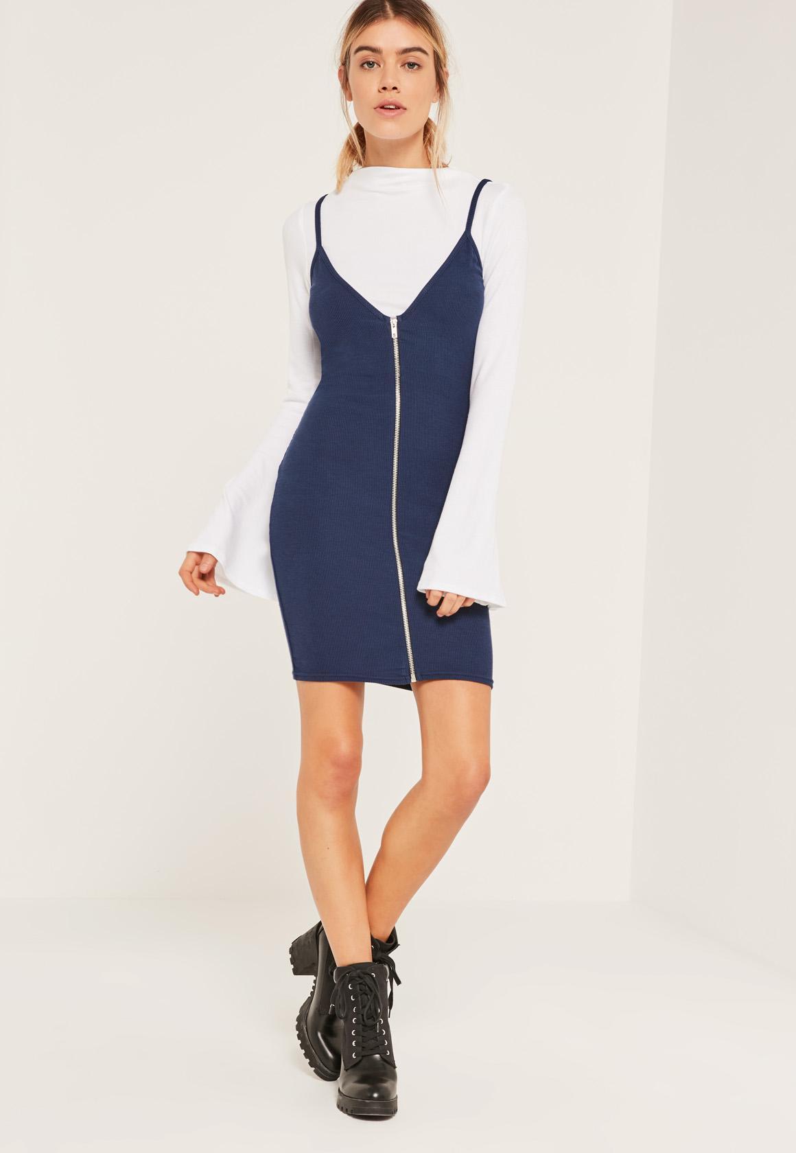 Blue Flared Sleeve Zip 2 in 1 Dress