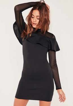 Black Mesh Frill Front Bodycon Dress