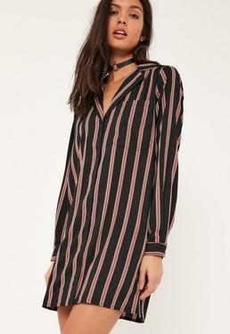 Robe-chemise noire rayée oversize