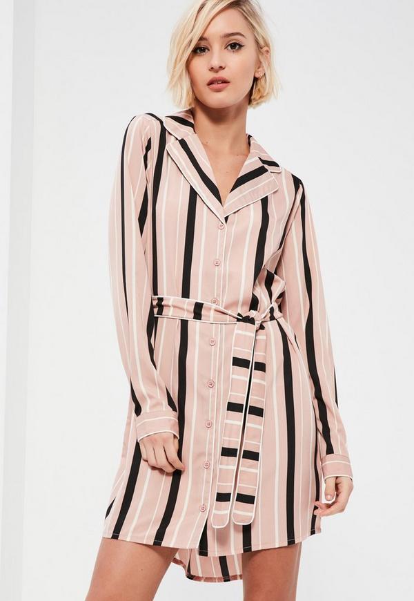 Pink Belted Stripe Shirt Dress