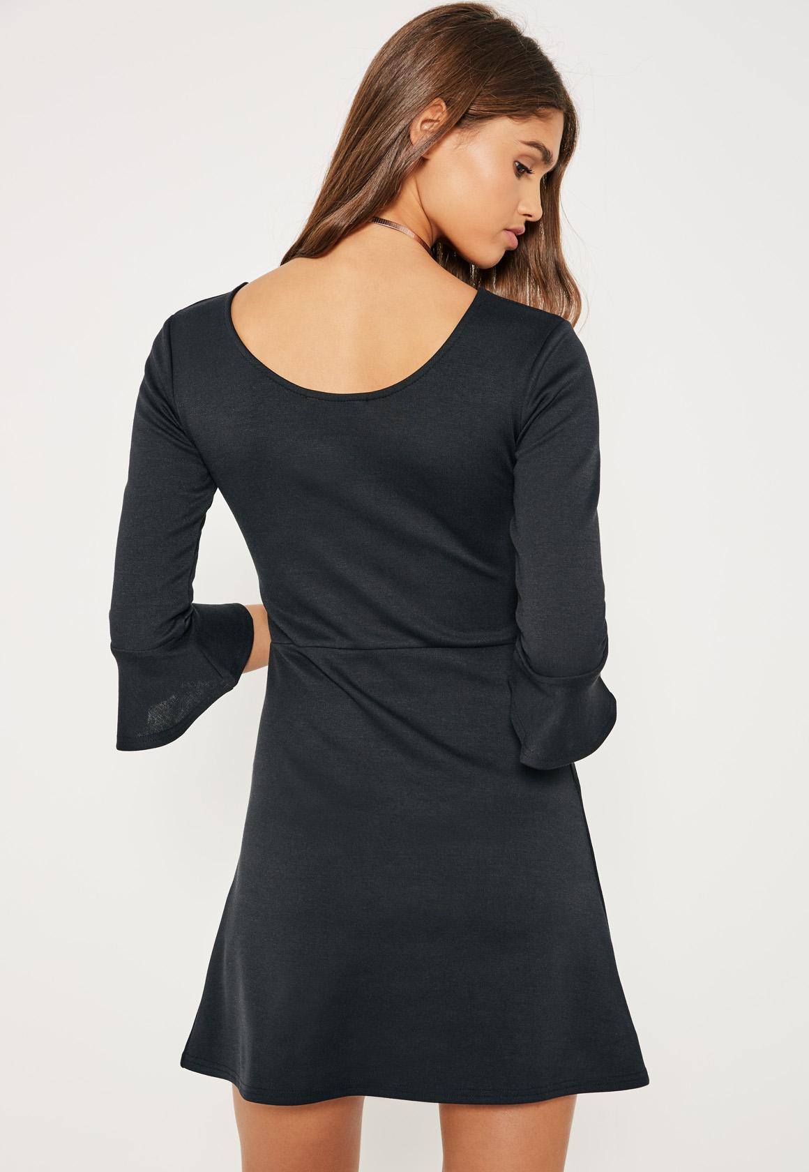 Black Zip Detail Frill Sleeve Skater Dress