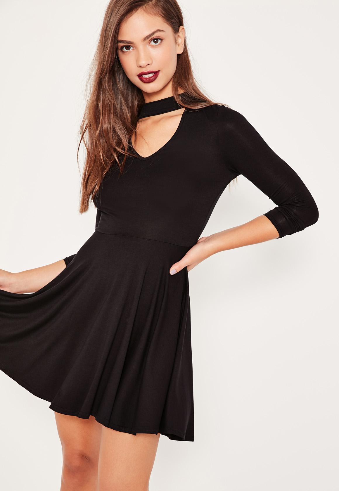 Black Choker Neck Skater Dress
