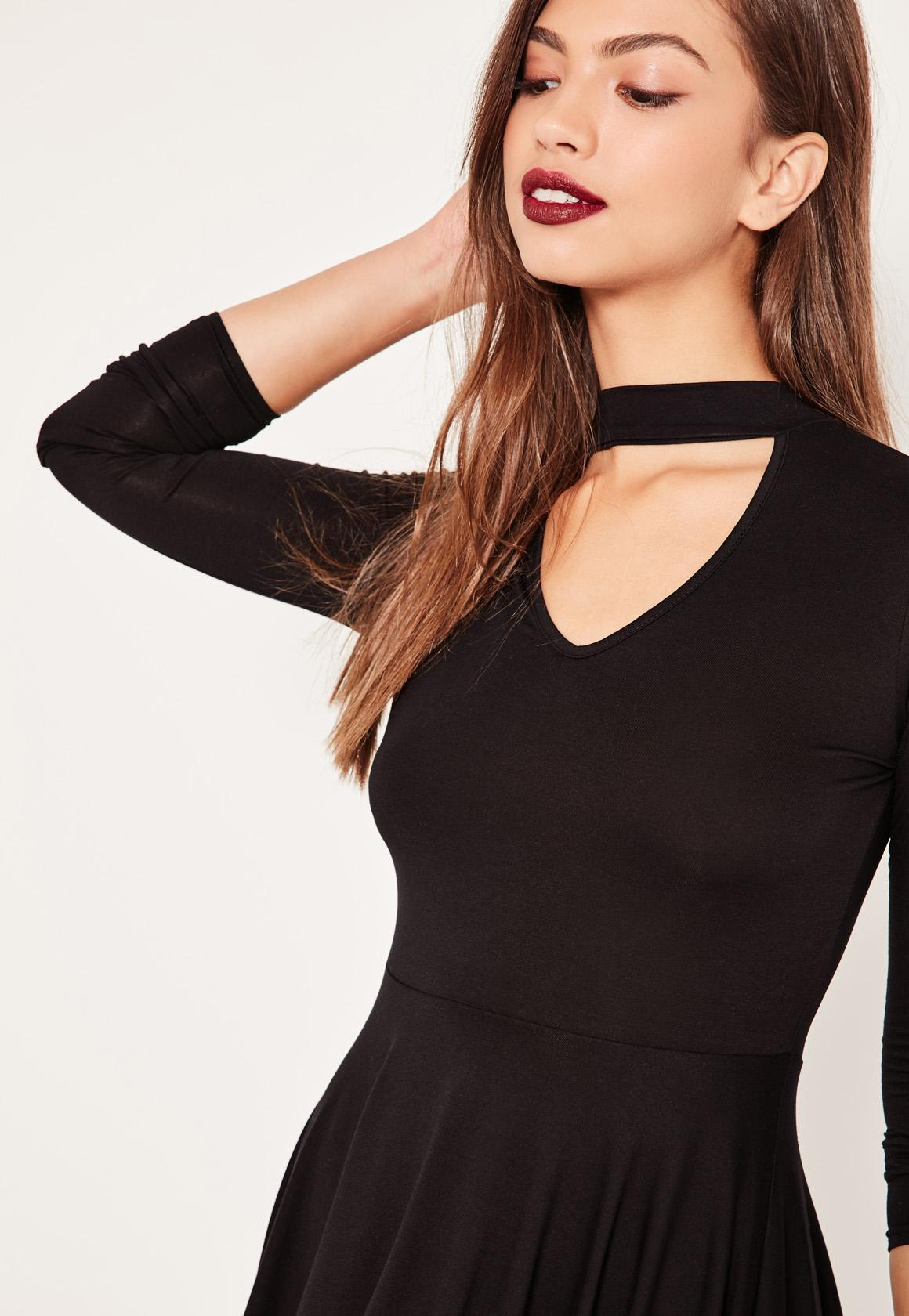 Black Choker Neck Skater Dress