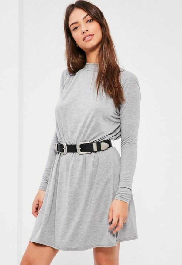 Grey High Neck Skater Dress