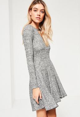 Grey Rib Keyhole Skater Dress