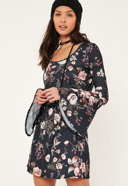 Navy Flute Sleeve Floral Printed Skater Dress
