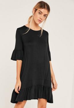 Black Frill Hem and Sleeve Swing Dress