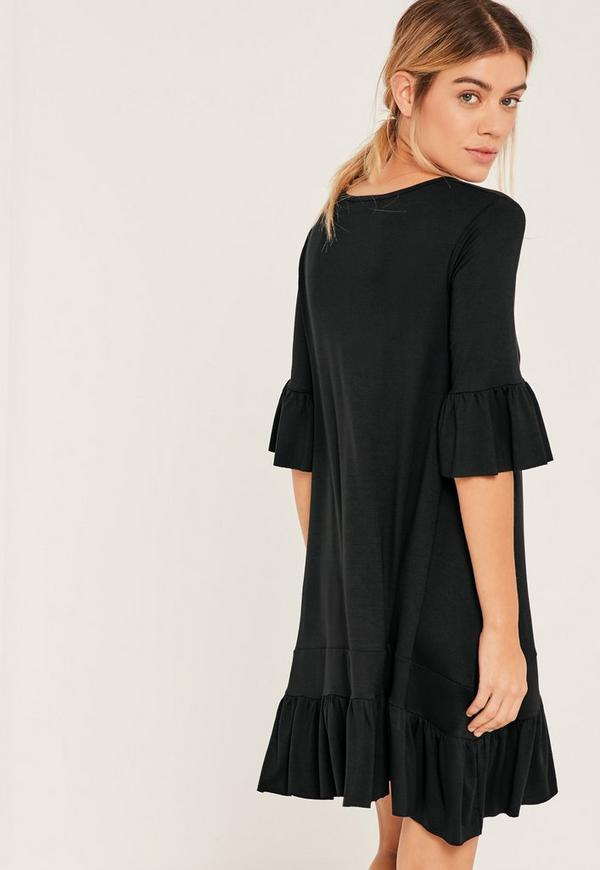 Black Frill Hem And Sleeve Swing Dress Missguided