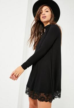 Black High Neck Lace Trim Long Sleeve Swing Dress