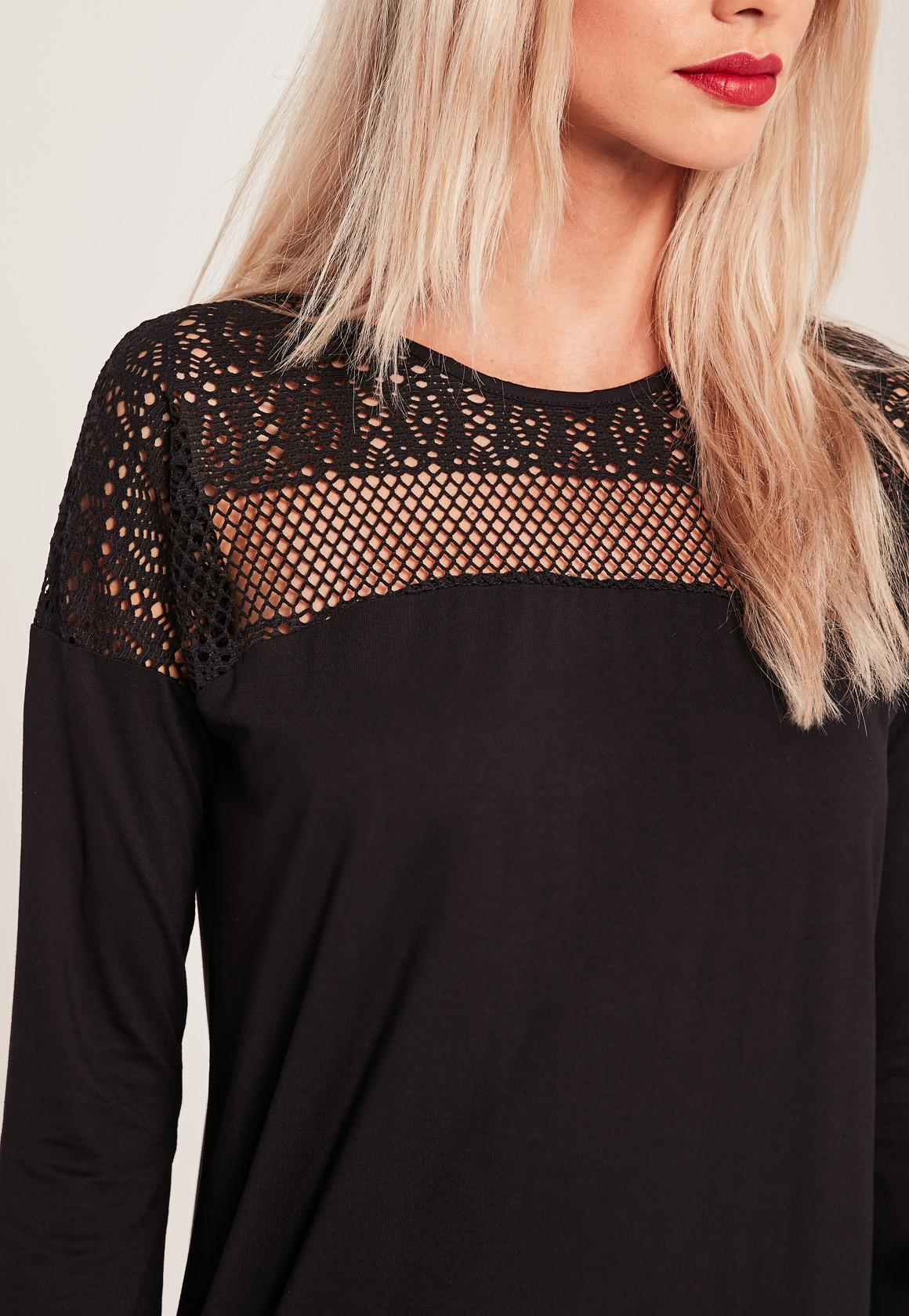 Black Lace Insert Top Long Sleeve Dress