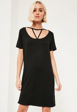 Black Triangle Strap Front Oversized T-Shirt Dress