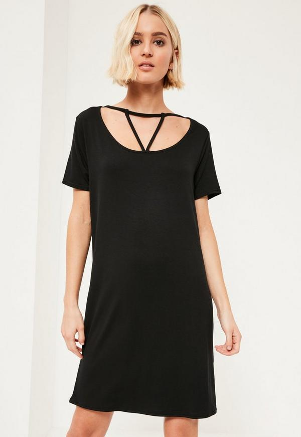 Black Triangle Strap Front Oversized T-Shirt Dress