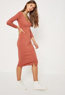 Orange Ribbed Button Down Midi Dress