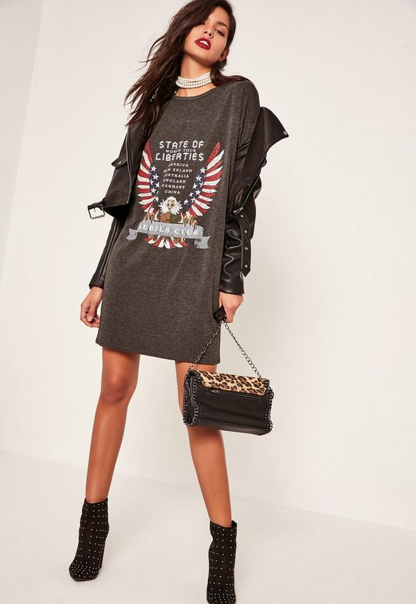 Grey Rebels Club Slogan T-Shirt Dress