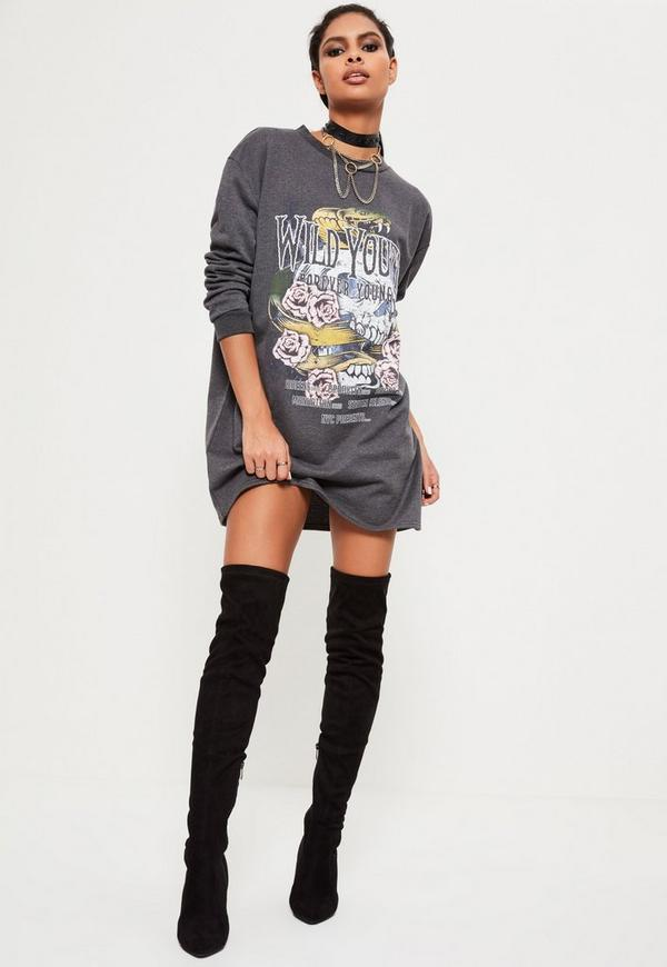 Grey Wild Youth Graphic Printed Rock Jumper Dress