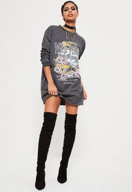 Robe sweat grise imprimé Wild Youth