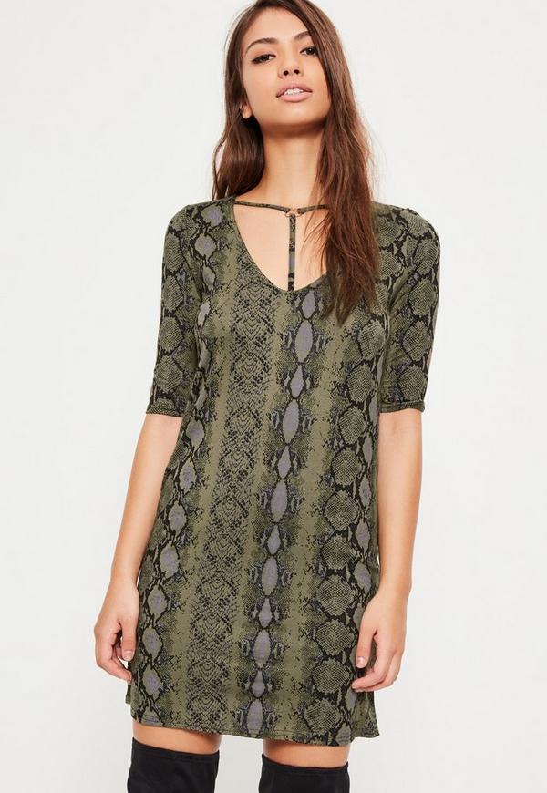 Green Snake Print Harness T-Shirt Dress