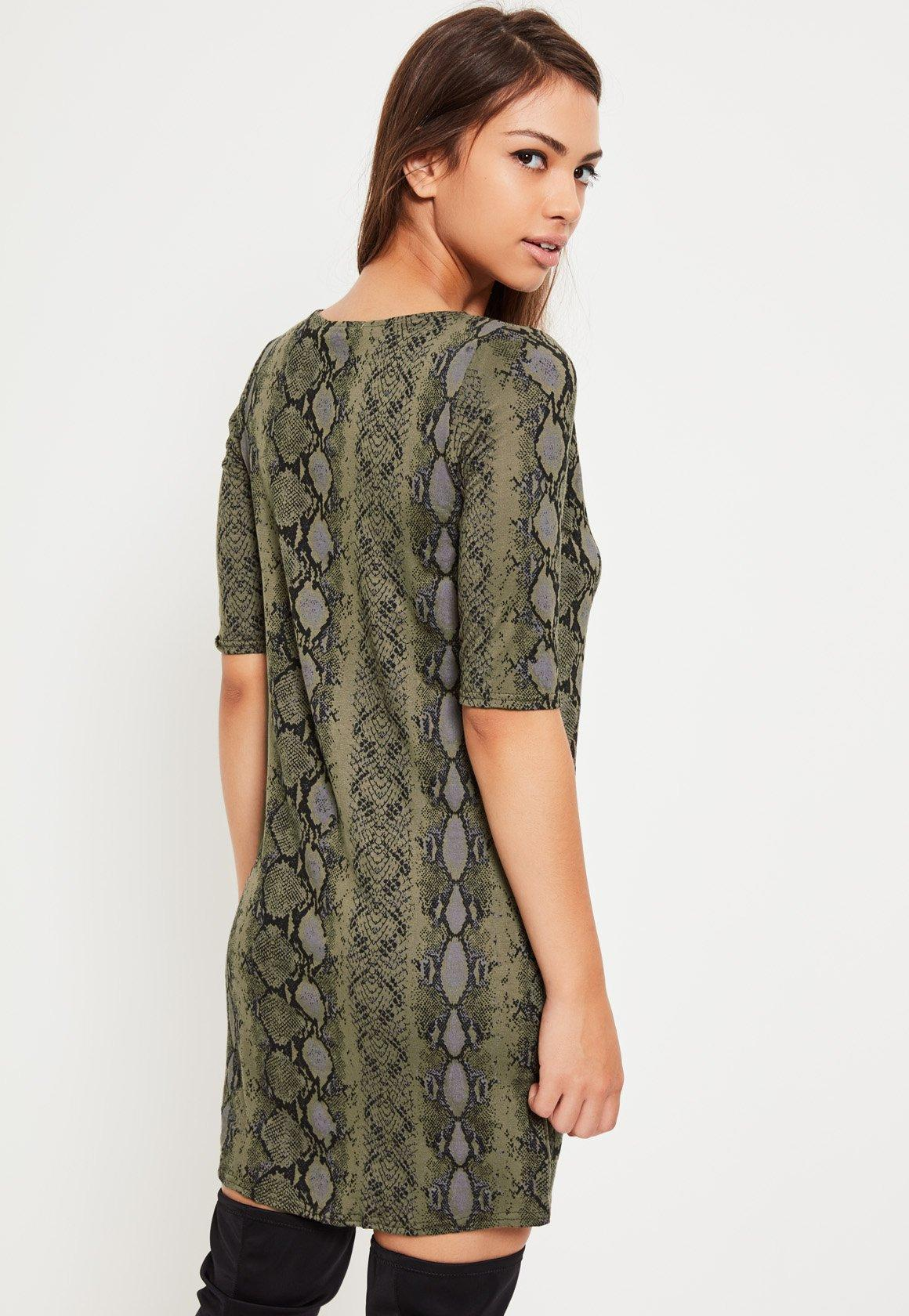 Green Snake Print Harness T-Shirt Dress
