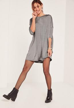 Silver Metallic Oversized Swing Dress