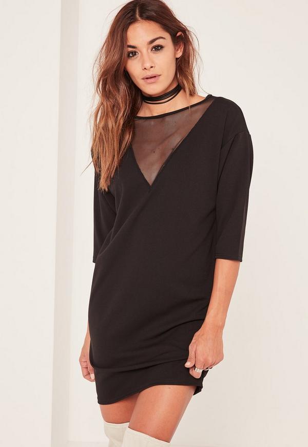 Black mesh insert v neck oversized dress