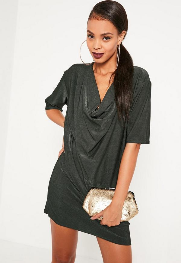 Green Cowl Neck T-Shirt Dress