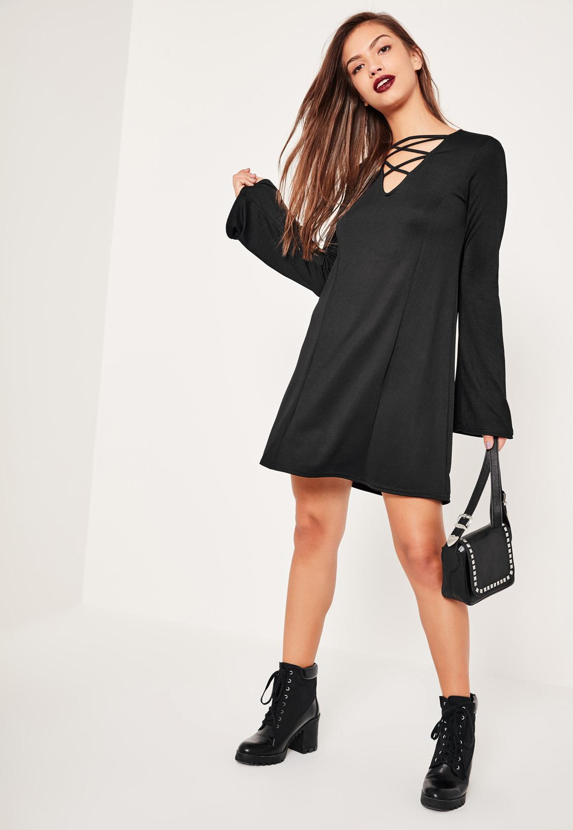 Black Crepe Cross Front Flared Sleeve Dress