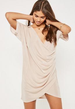 Nude Slinky Wrap Dress
