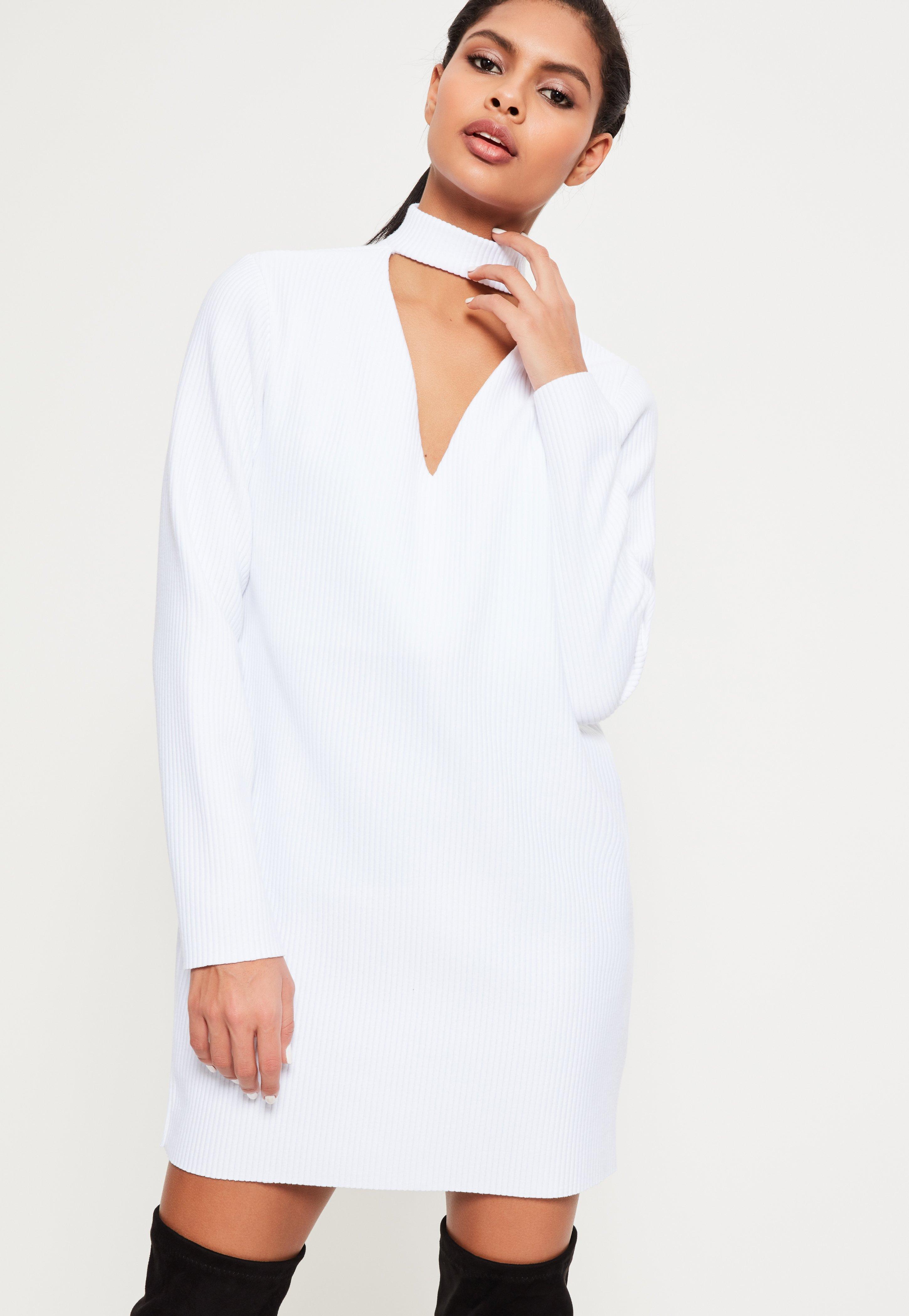 White Rib Choker Neck Sweat Dress