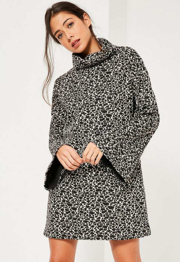 Black Jacquard Leopard Flared Sleeve High Neck Dress