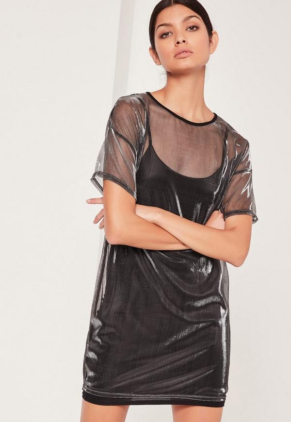 Metallic Overlay Dress Black
