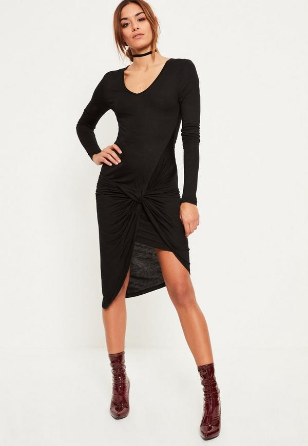 Black Ruched Side Long Sleeve Midi Dress