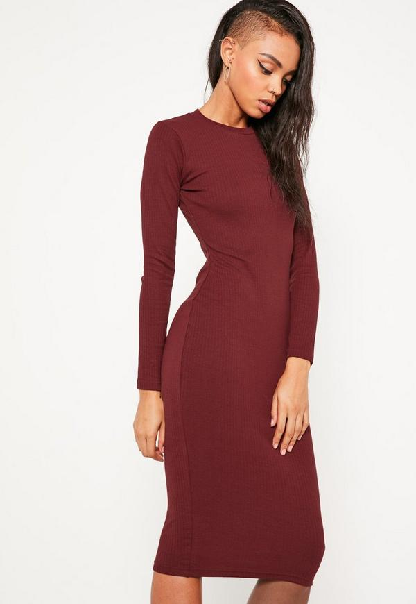 Burgundy Long Sleeve Ribbed Midi Dress