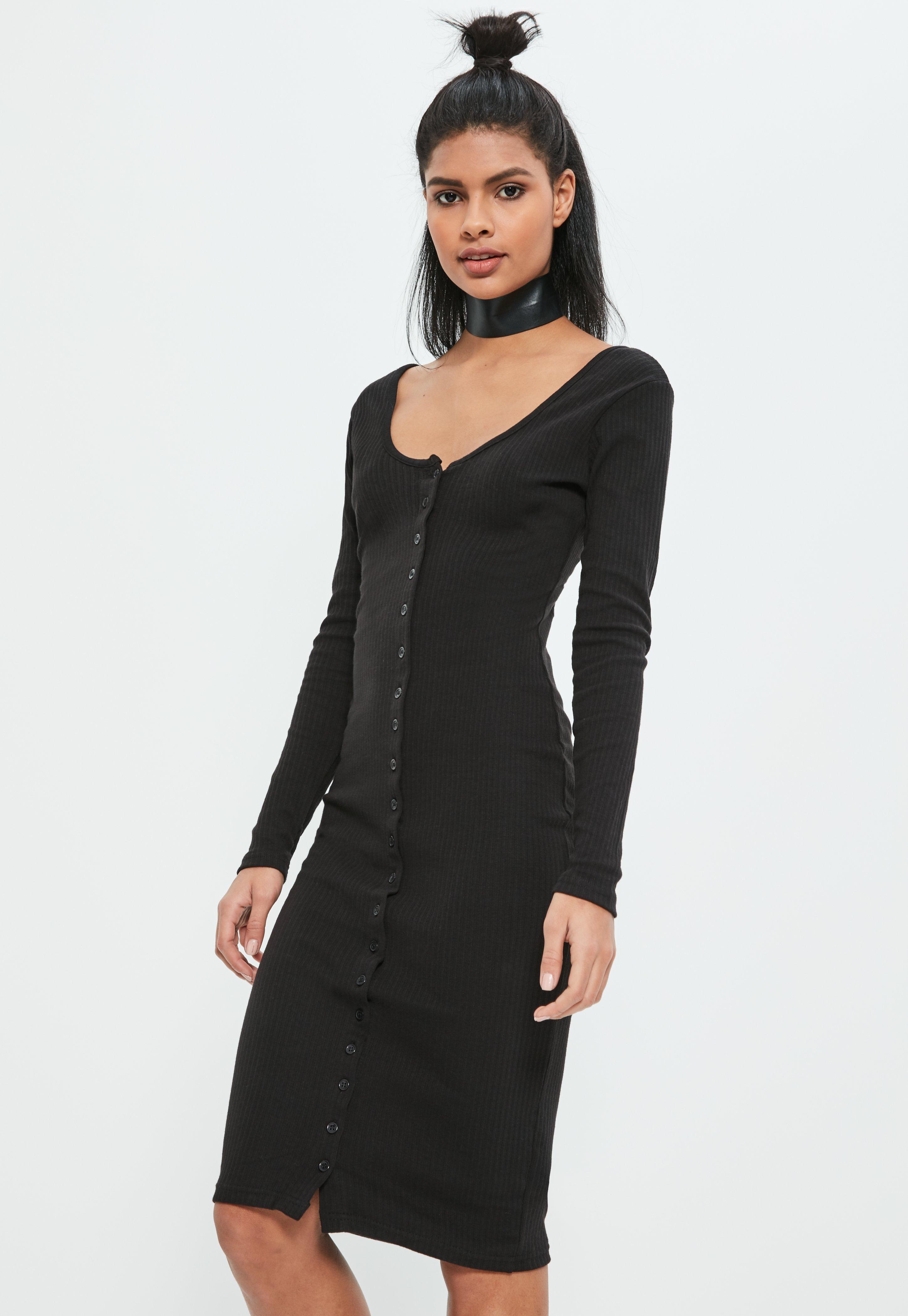 Black Ribbed Midi Dress - 14 / BLACK I Saw It First Sale Top Quality xyaLoYK