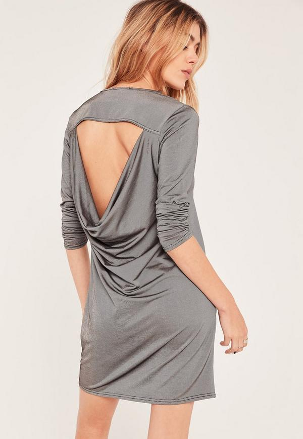 Silver Metallic Cowl Back Dress