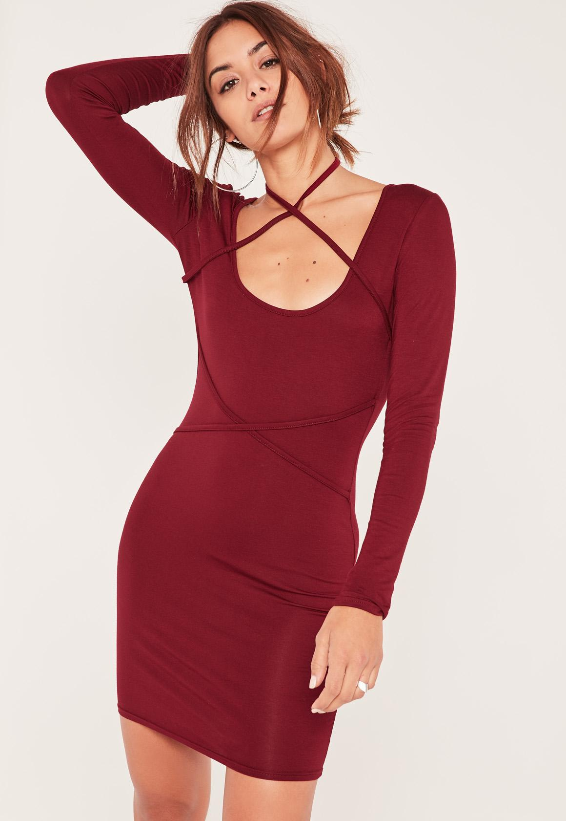Red Strap Cross Over Long Sleeve Bodycon Dress