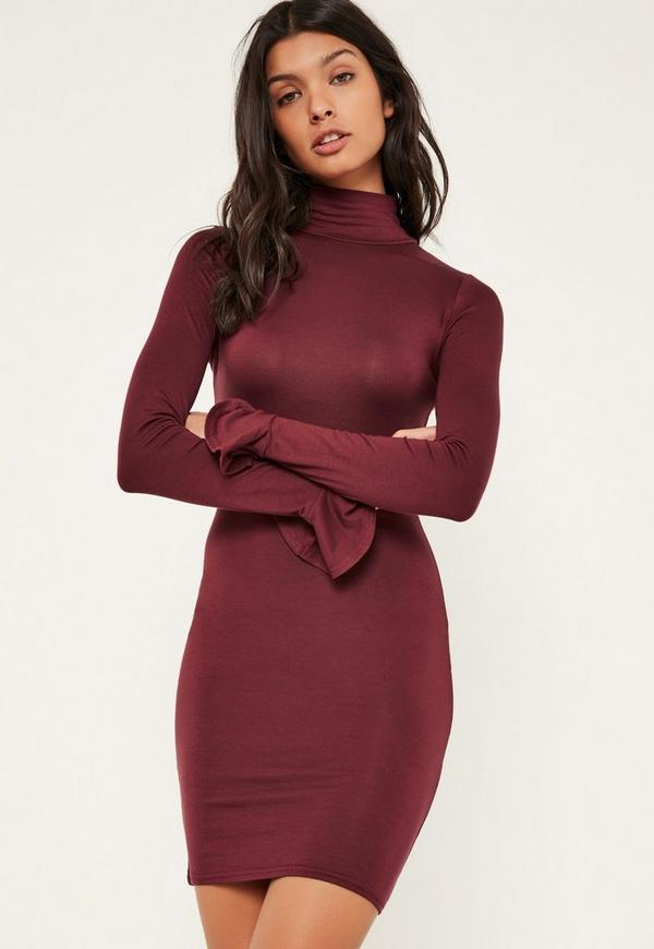 Burgundy High Neck Flared Cuff Bodycon Dress