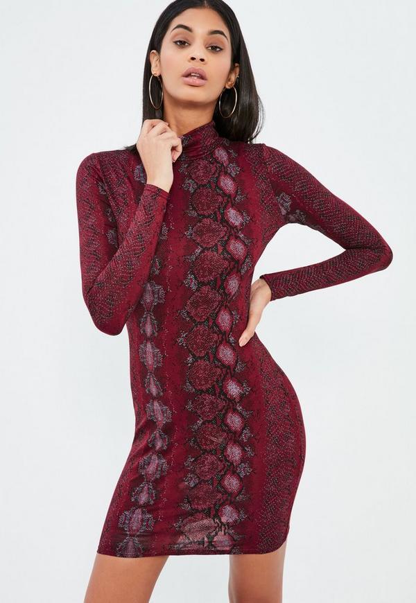 Burgundy Roll Neck Snake Print Bodycon Dress