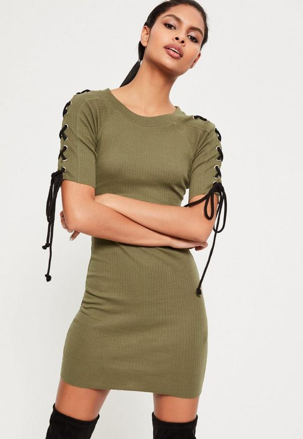 Khaki Lace Up Half Sleeve Rib Bodycon Dress