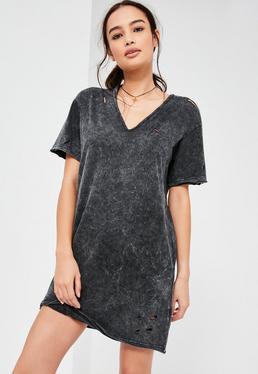 Black Ripped Washed T Shirt Dress