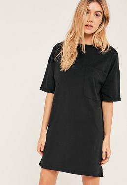 Robe t-shirt noire avec poche sur le devant