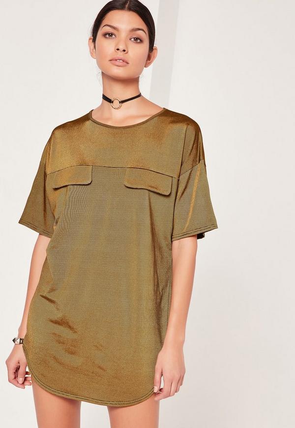 Pocket Shift Dress Khaki