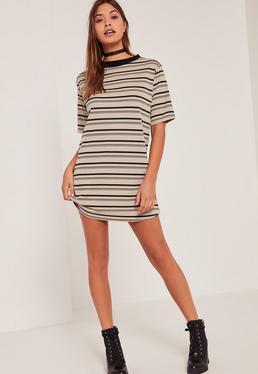 Multi Ribbed Neck Stripe T Shirt Dress