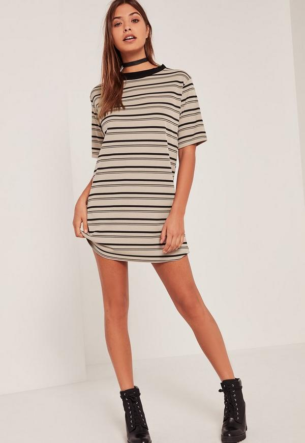 Multi Ribbed Neck Stripe T Shirt Dress