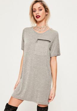 Grey Ring Pocket Shift Dress