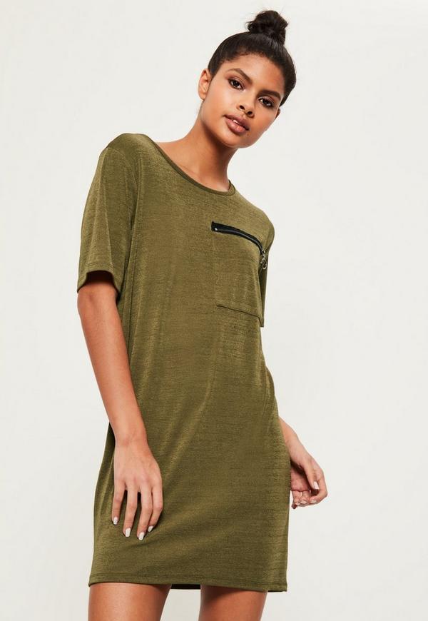 Khaki Ring Pocket Shift Dress