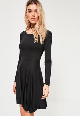 Black Basic Skater Dress