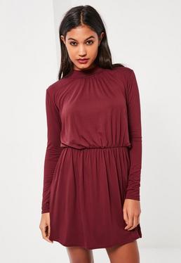 Burgundy High Neck Skater Dress