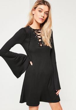 Black Oversized Lattice Front Flared Sleeve Dress