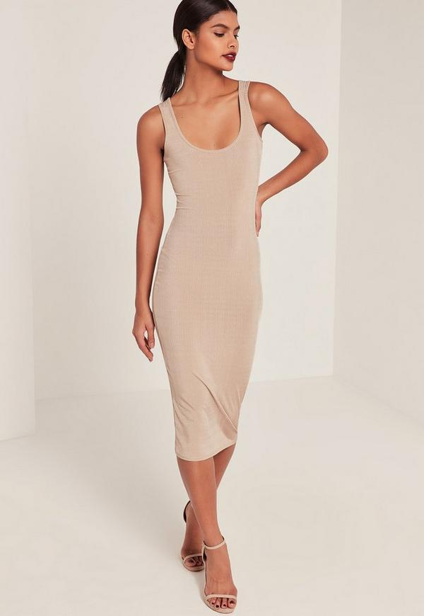 Nude Ribbed Longline Midi Dress